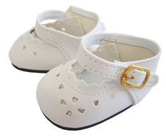 White Heart Cut Matte Mary Jane Shoes for Bitty Baby + Twins Doll Clothes #DollClothesSewBeautiful