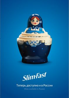 """This ad announcing Slim-Fast's availability in Russia was nominated in the """"Best Press Ad"""" category."""