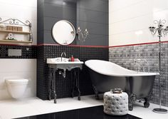 Boudoir bathroom in black & white (Opp! ceramic tiles 90x30 cm with Lace decorations)
