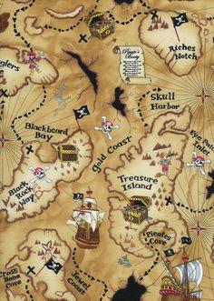 Timeless treasures Kidz pirate map 05 m pure by HandbagsandmoreNr1