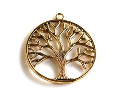 2  Large Antique Gold Brass TREE OF LIFE Pendants by SmartParts, $2.99