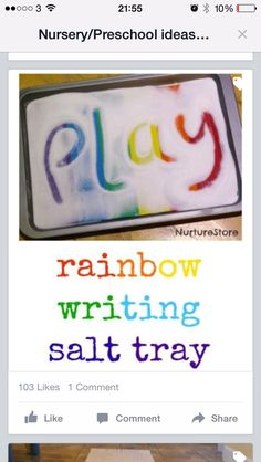 Rainbow themed literacy activities - NurtureStore - Rainbow writing salt tray + lots of rainbow-themed literacy ideas - Sight Word Activities, Phonics Activities, Preschool Activities, Colour Activities Eyfs, Activites For Preschoolers, Fine Motor Skill Activities, 5 Year Old Activities, Dyslexia Activities, Rainbow Activities