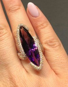 Mysticism and mystery come alive with this hauntingly beautiful marquise-shaped amethyst and diamond. the definition of medieval romance Very Beautiful and feminine. Gold Jewelry Simple, Purple Jewelry, Amethyst Jewelry, Gems Jewelry, Gemstone Jewelry, Jewellery, Shell Jewelry, Boho Jewelry, Jewelry Box