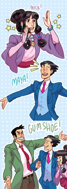 maya, phoenix wright, and gumshoe have a reunion.