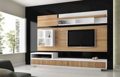 Beautiful wall unit design for LED tv Living Room Tv Unit Designs, Wall Unit Designs, Tv Unit Decor, Tv Wall Decor, Tv Cabinet Design, Tv Wall Design, Living Pequeños, Living Room Modern, Living Rooms