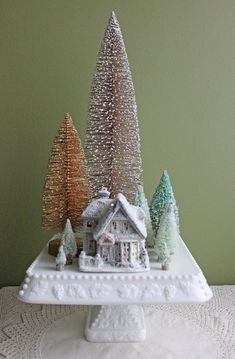 Christmas Decoration or Table Centerpiece.  by AnythingDiscovered Christmas Table Centerpieces, Cake Plates, Gingerbread, Christmas Diy, Desserts, Ideas, Tailgate Desserts, Christmas Makes, Deserts