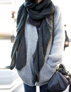 cozy grey cardigan
