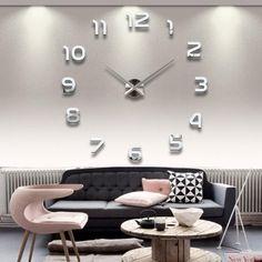 Moderno fai da te grande parete 3D orologio con I Numeri arabi Murales Adesivi per Casa Soggiorno Camera da Letto Hotel Ristorante Ufficio Argento