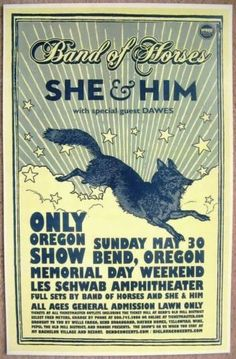 BAND OF HORSES / SHE & HIM Concert Poster