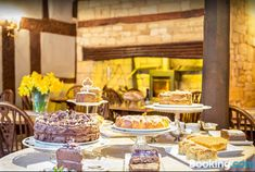 Badgers Hall- Cotswolds- in this example, cakes are displayed right in the middle of the room!