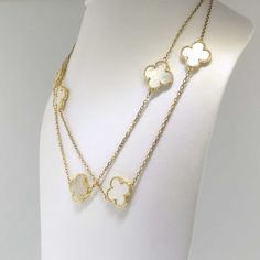Affordable Estate 18k Mother Of Pearl Clover Necklace 31.5' inch Long Necklace | Antique & Estate Jewelry | Jewelry Finds
