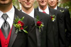 Fabulously Wed: Real Wedding: Red and Black Wedding - Caitlin + Michael Wedding 2017, Red Wedding, Wedding Bells, Wedding Colors, Fall Wedding, Wedding Flowers, Wedding Themes, White Tuxedo Wedding, Groom And Groomsmen