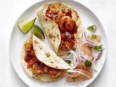 Get Shrimp Tacos with Grapefruit Salad Recipe from Food Network