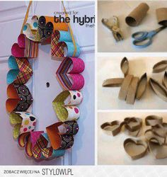 DIY Easy projects for kids part 2 heart wreath Toilet Roll Craft, Toilet Paper Roll Art, Rolled Paper Art, Toilet Paper Roll Crafts, Tissue Roll Crafts, Projects For Kids, Diy For Kids, Diy And Crafts, Crafts For Kids