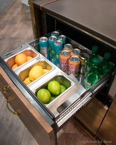Refrigerator drawer integrated into bar - so cool!