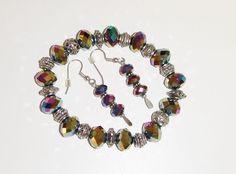 86~Aurora Borealis & Silvertone Bead Bracelet And Pierced Earring Set**  https://www.facebook.com/AColourfulPast