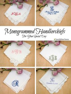 Personalized keepsakes to dry your tears of joy! Make your wedding extra special by getting your handkerchiefs personalized with a monogram or message of your choice. Wedding Embroidery, Embroidery Applique, Machine Embroidery, Embroidery Designs, Monogram Fonts, Mens Monogram, Sewing Crafts, Diy Crafts, Cricut Craft Room