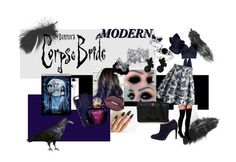 """Corpse Bride Modern"" by missnerd-liz on Polyvore featuring Boohoo, Rebecca Minkoff, Johanna Ortiz, Chicwish, Gianvito Rossi, Allurez, Palm Beach Jewelry, Skullcandy, Lime Crime and Brahmin"
