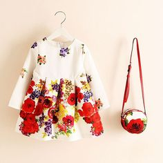White Floral Tea Dress with Cross Body Purse