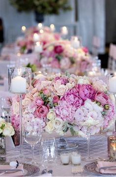 I love the range of pinks and the big romantic flowers. This is a good look for the tables. This could be a model.