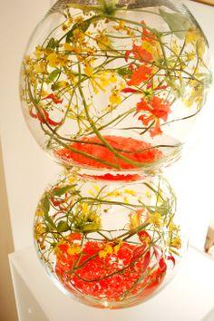 Double fishbowl with orange and yellow Gloriosa lilies - Yan Skates design Gloriosa Lily, Fishbowl, Skates, Orange, Yellow, Lilies, Wedding Bouquets, Bespoke, Flower Arrangements