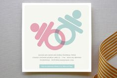 Graphic pacifiers or binkies represent baby boy or girl in this modern baby shower invitation for minted.com. Can be used for twins.