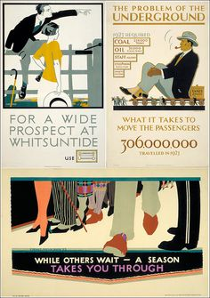 'For a wide prospect at Whitsuntide', by Frederick Charles Herrick, (1922).  'What it takes to move the passengers; problems of the Underground', by Irene Fawkes, (1924). 'While Others Wait; a Season Takes you Through', by Percy Drake Brookshaw (1927).