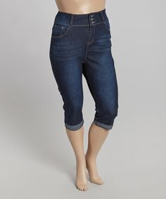 Look at this #zulilyfind! Blue Denim Jean Capri Jeans - Plus by Starwear #zulilyfinds