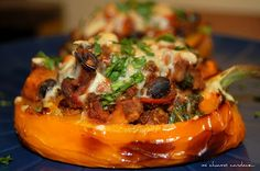 Spicy Stuffed Peppers [Mi Chiamo Candace] // Vegetarian if you take out the turkey!