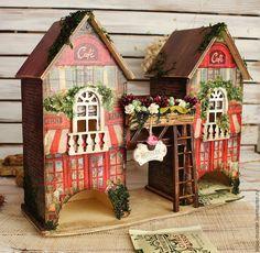 Купить чайный домик ВЕНСКАЯ КОНДИТЕРСКАЯ - красный, коричневый, домик миниатюра, домик для чая