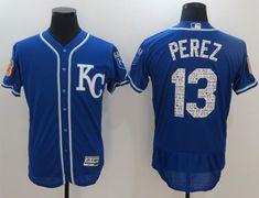 951e5e2a1 Men Kansas City Royals 13 Perz Blue Elite Spring Edition MLB Jerseys
