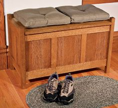 CLICK HERE For Free Project Plans For This Arts And Crafts Storage Bench.    CLICK