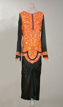 Embroidered Orientalist Outfit   Attributed to Callot Soeurs, French, 1920s,   Black satin top, the bodice of cream and rust Chinese inspired embroidery, with black draped skir