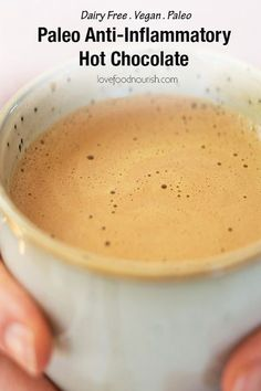 A delicious paleo hot chocolate with a delicious blend of anti-inflammatory and immune boosting spices. This healthy and dairy free hot chocolate will give you a great start to the day. #hotchocolate #paleo #paleohotchocolate #vegan #veganhotchocolate #dairyfree #dairyfreehotchocolate #hotdrink #paleodrink