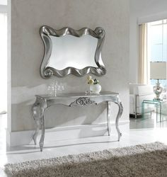 Ornate Console Table in Silver Antique Home Furniture for Master Bedroom with Console Tables Silver Console Table, Modern Console Tables, Bedroom Red, Bedroom Decor, Master Bedroom, Bedroom Ideas, White And Silver Bedroom, Furniture Makeover, Home Furniture