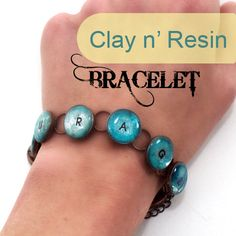 Cool custom word polymer clay and resin bracelet