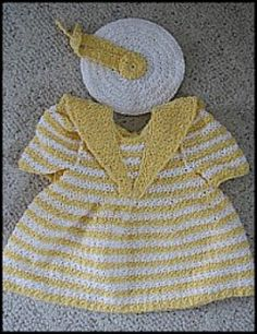 Sailor Dress with Matching Hat Baby Dress - Crochet Sizes 12-24mths | Crochet/Knitting | YouCanMakeThis.com