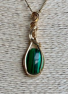 Malachite Jewelry, Brass Jewelry, Boho Jewelry, Gemstone Jewelry, Jewlery, Wire Pendant, Wire Wrapped Pendant, Wire Wrapped Jewelry, Gold Pendant