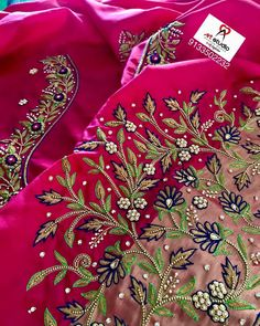 For customising your outfits - whatsapp 9133502232 Blouse Designs Catalogue, Best Blouse Designs, Simple Blouse Designs, Embroidery Neck Designs, Embroidery Suits Design, Embroidery Dress, Embroidery Patterns, Zardozi Embroidery, Embroidery Stitches