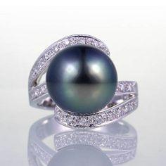 18K 0 30ct 12 5mm South Sea Pearl Peacock Diamond Ring | eBay