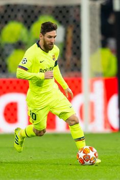 Lionel Messi of Barcelona controls the ball during the UEFA Champions.