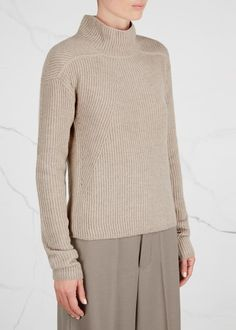 Rick Owens stone cashmere blend jumper Panelled ribbing, high neck, dropped shoulders, extra long-length sleeves, ribbed stripe at back Slips on 65% cashmere, 25% wool, 10% polyamide