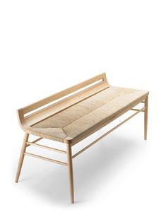 "Rush Seat Bench - Usona Home. Dimensions: 51"" x 20"" x 22""H/18"" seat height Material: Solid oak, straw. Finish: Natural oak."