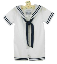 NEW Lito White Cotton Seersucker Sailor Suit with Dark Navy Braid Trim and Matching Sailor Hat $45.00 #EasterOutfit