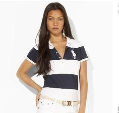 cheap ralph lauren polo Women\u0027s Big Pony Striped Short Sleeve Polo Shirt  Navy Blue / White