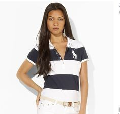 cheap ralph lauren polo Women\u0026#39;s Big Pony Striped Short Sleeve Polo Shirt Navy Blue / White