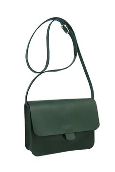 Kate Sheridan Forest Green Tab Bag: Kate Sheridan Forest Green Tab Bag  Her best selling Tab bag is back!  A simple pared back design featuring in smooth forest green leather with a matching bridle adjustable strap. Can be worn over the shoulder or as a cross-body. A perfect every day staple.  Kate Sheridan is a label full of east end character. Well known to the local fashion folk, its stylish no nonsense design approach has established itself internationally as an off beat accessories…