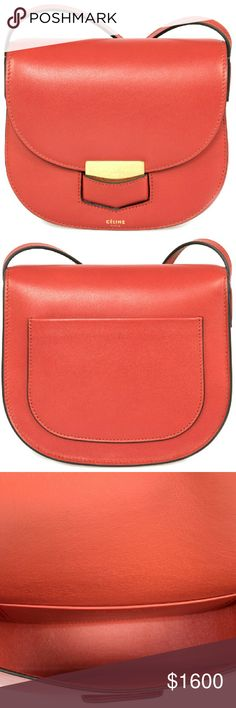 Celine Trotteur Small Red Calfskin Leather Phoebe Philo Collection. Red calfskin Celine Small Trotteur bag with gold-tone hardware single flat shoulder strap single slit pocket at back stamped logo at front face tonal leather lining single slit pocket at interior wall and fold-in flap closure at front. Includes dust bag. Shoulder Strap Drop 22 Height 7 inches Width 7 inches Depth 2 inches SKU: CEL-HBAG-TROTTEUR-RED-S Celine Bags Shoulder Bags