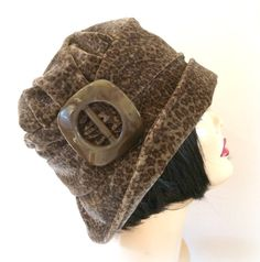 Flapper Style Cloche Hat--Brown Leopard Print Velveteen Alice with Brown Vintage Bakelite Buckle