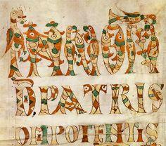 Les motifs cloisonnés  Les manuscrits enluminés en Neustrie à l'époque carolingienne portent pour la plupart la marque du style mérovingien qui s'est développé durant les VIIe et VIIIe siècles.